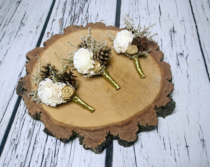 Ivory brown gold rustic wedding BOUTONNIERE CORSAGE groom groomsman Sola Flower pine cone dried limonium satin ribbon custom