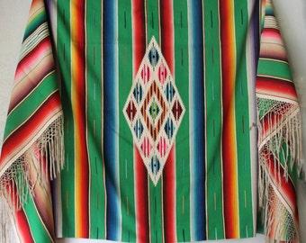 Vintage Serape Saltillo Blanket, Large Size