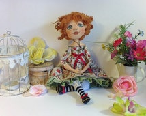 Cloth  doll Art doll   Collecting   OOAK doll Textile doll BJD  handcrafted   Stuff  doll Fabric rag doll Soft Floral dress Ginger