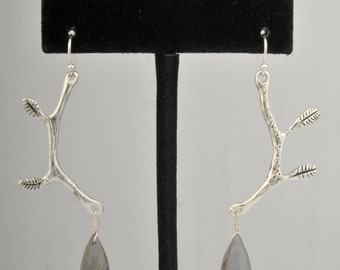 Sterling Silver Branch Earrings with Labradorite Stones
