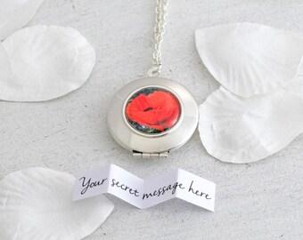 Poppy Locket Necklace - Red Poppy - Flower Necklace - Silver Locket - Personalized Locket - Secret Message - Red Necklace - Flower Locket