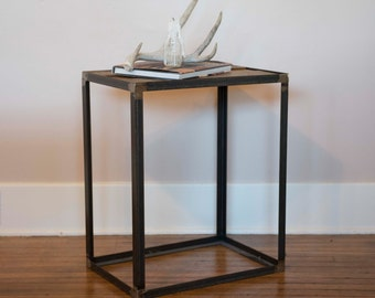 Industrial Reclaimed Wood End Table