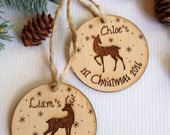 Personalized Christmas ornament, engraved Christmas ornament, first Christmas, baby, christmas tree decoration, christmas gift, wedding gift