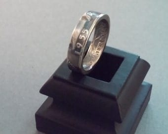 Unique Gift - 1955 -  90% Silver U.S. Quarter Ring. Available in your choice of size 5 to 11. Custom dates and sizes available.