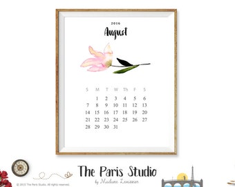 2016 Printable Calendar Instant Download 2016 Monthly Calendar 2016 Watercolor Floral Calendar Printable Digital Wall Art Calendar