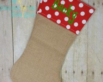 RED Polka Dot Personalized Burlap Christmas Stockings. Monogrammed Christmas Stocking, Personalized stocking, name on stocking.
