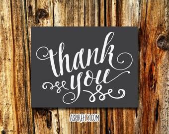 Thank you cards printable - printable thank you card - calligraphy thank you - wedding thank you cards printable - birthday thank you cards
