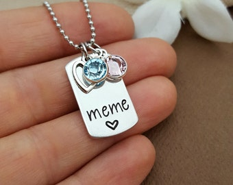 Meme Necklace | Grandmother Necklace For Meme | Gift For Meme | Meme Jewelry