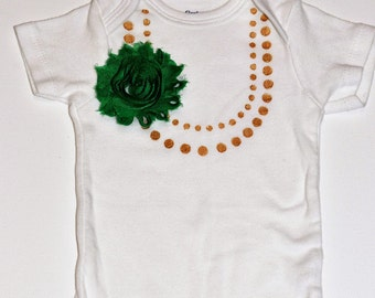 Pearl Necklace Flower Onesie Emerald Green and Gold / Baby Girl Embellished Onepiece Bodysuit