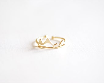 Matte Vermeil Gold Mountain Adjustable Ring- 18k gold plated over Sterling Silver Adjustable Ring, Mountain Peak Range Ring, Hiking Ring,262