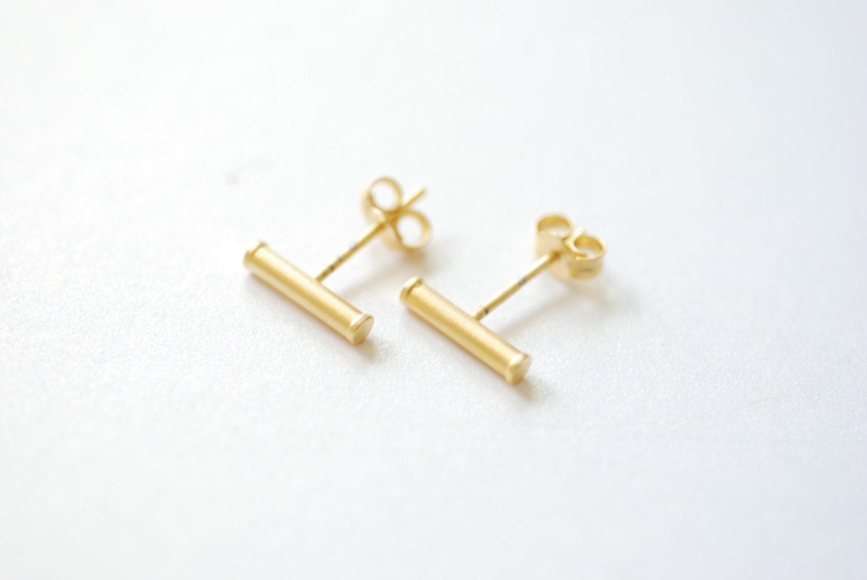 Vermeil Matte Gold Bar Earrings Gold Bar Stud Earrings Line
