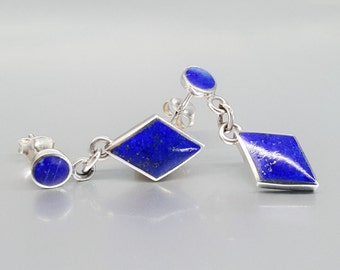 Classic dangle earring with Lapis Lazuli and Sterling silver - Nickel free - gift idea - inlay work - diamond shape - natural stone - fine