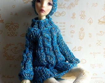 New Price - Sweater-dress and hat turquoise with cables for MSD BJD dolls (MiniFee, etc ...)