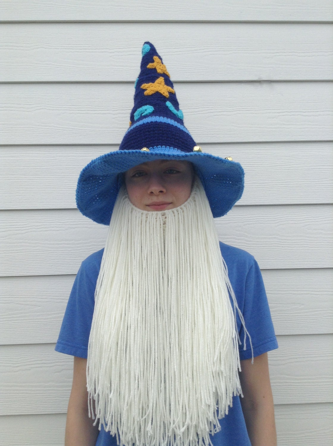 Star Bearded Wizard Hat and Beard Costume with Bells