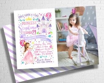 Princess Birthday Invitation | Once Upon A Time | Fairy Tale Birthday Invitation | Royal Invite | Pink & Purple Princess | DIGITAL FILE ONLY