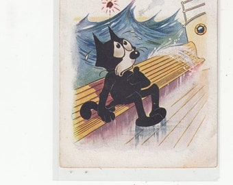 "1924 Postcard Felix The Cat-Black CatPostcard-On Boat-Rough Seas-""I'd Give Up All For You"""