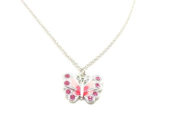 Pink Butterfly Necklace, Charm Necklace, Butterfly Charm Jewelry, Butterfly Pendant, Silver Butterfly Jewelry, Jewelry Gift, Gift Under 20