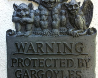 "Gargoyle wall plaque ""warning protected by Gargoyles"""