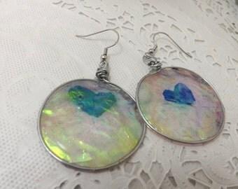 OOAK abstract heart cellophane dangle earrings handmade