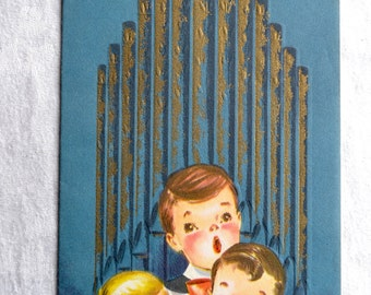 Vintage Christmas Card - Choir Boys Singing in Front of Pipe Organ - Used