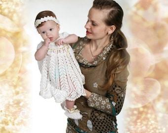 Crochet christening dress, Baptismal set, White dress, Baby crochet dress