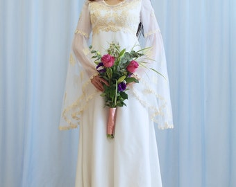 La Angelique - 1970s boho wedding dress with bell sleeves