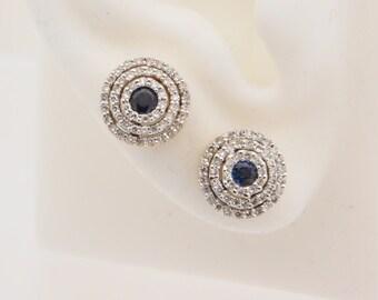 0.75 Carat T.G.W. Round Cut Diamond & Blue Sapphire Earrings 14K