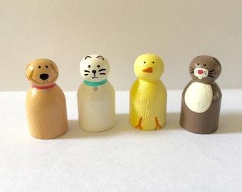 Animal peg doll set - bunny - cat - chick - dog - pet peg dolls - dollhouse - wood toys - wooden animals - handpainted dolls - wooden dolls