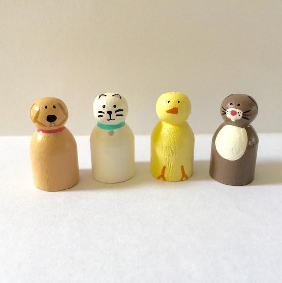 Baby Peg Toys : Animal peg doll set bunny cat chick dog pet