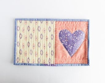 Heart Quilted Mug Rug | Modern Mini Quilt | s/f Designs