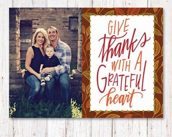 Custom Thanksgiving Photo Card, Thanksgiving Cards, Printable, Holiday Cards, Thanksgiving Photo Card, Custom Family Photo Card, Give Thanks