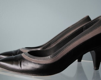 80's Selby Black and Gray Leather Heels - Size 6.5 AAA