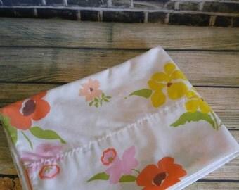 Vintage Pillowcase, Pink Flowers, Yellow Flowers, Orange Flowers, Floral Pillowcase, White Pillowcase, Perma Prest, Vintage Linens,  Percale