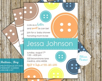 Cute As A Button Baby Shower Invitation Button Baby Shower Invite Cute As A Button  Invitation