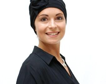 Women's Chemo Cap | Cancer Hats for Hair Loss | Black Beanie Hat | Fashion Turban | Chemo Headwear - many colours, sized XS S M L XL