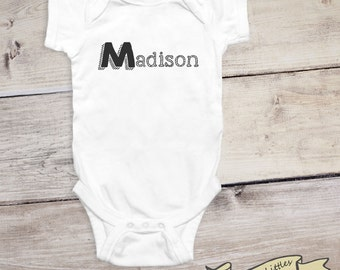 Monogram Baby Onesie®, Personalized Onesie® - Baby Name Reveal