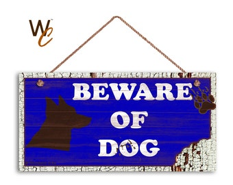 "ON SALE Beware of Dog Sign, Rustic Decor, Dog Bite Sign, Blue Distressed Wood Sign, Dog Silhouette, Weatherproof, 5"" x 10"" Sign, Made To Ord"
