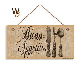 "ON SALE Buon Appetito Sign, Vintage Italian Style, Kitchen Sign, Weatherproof, 5"" x 10"" Sign, Houewarming Gift, Made To Order"
