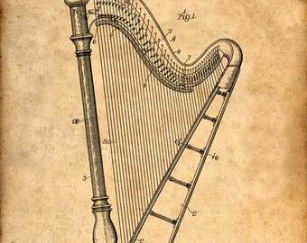 Harp Patent Print Patent Art Print Patent Poster