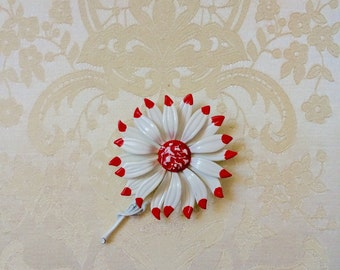 RESERVED: 1960s White with Red Tips and Center Enamel Daisy Flower Power Brooch with Stem - Very Large!!!
