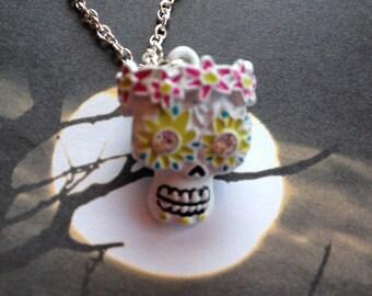 Halloween Jewelry, Halloween Necklace, Skull Necklace, Skull Pendant, Sugar Skull Pendant