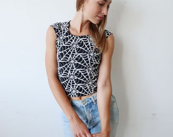 SALE! Black 90s Tank Top with Spider Web Pattern!