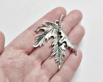 Leaf Charm - Large Leaf Pendant - Maple Leaf - Fall Charm - #S0234