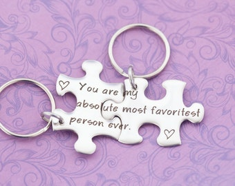Couples Puzzle Piece Keychain Set - Engraved Jewelry - Engraved Keychain - You are my Person