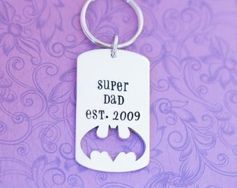 Hand Stamped Dad, Grandpa, Papa Superhero Keychain - Batman - Hand Stamped Jewelry - Established - Super Dad