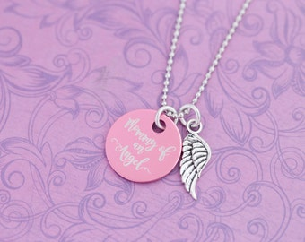 Mommy of an Angel - Pink - Angel Baby - Pregnancy Loss - Miscarriage - Memorial Jewelry - Engraved Jewelry