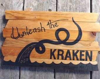 Kraken, Pirate, Davy Jones, Locker, painting on reclaimed lath wood - Art Octopi