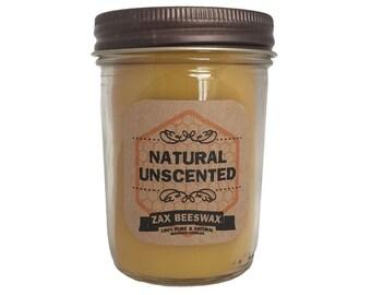 100% Pure & Natural Beeswax Mason Jar Candle | 8 Oz