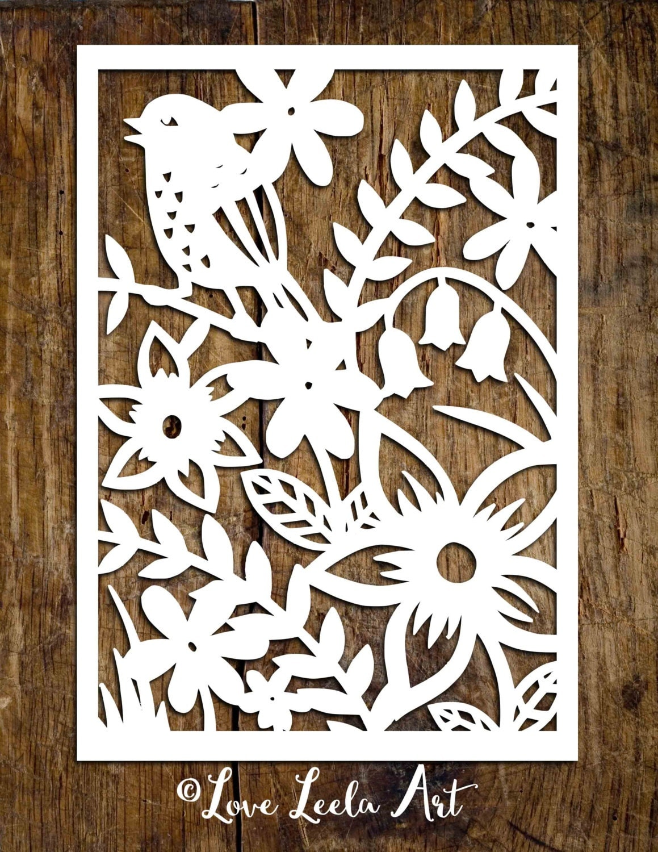 Wall Design Paper Cutting : Personal use papercutting template flower garden paper cut
