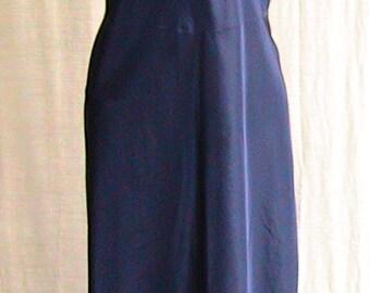 40s size 38 BLUE SATIN zippered Slip